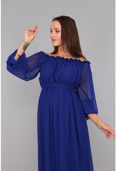 Moda Labio Babyshower Dökümlü Saks Mavi Hamile Elbisesi