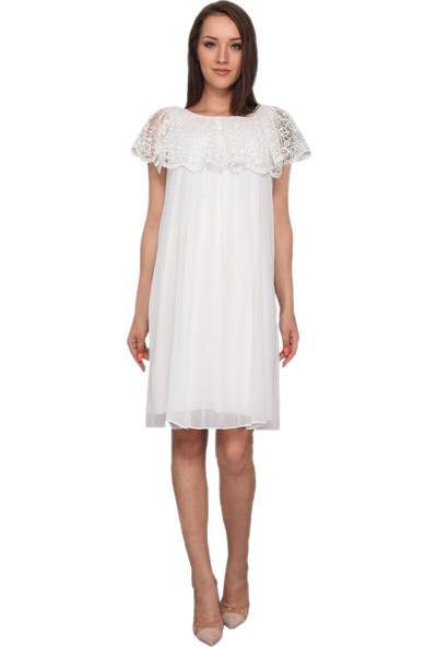 Moda Labio Dantelli Piliseli Beyaz Elbise