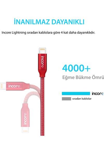 Incore inLine Lightning 2 Mt Apple MFI Lisanslı Örgülü Hızlı Şarj ve Data Kablosu iPhone iPad iPod 2.4A Gümüş