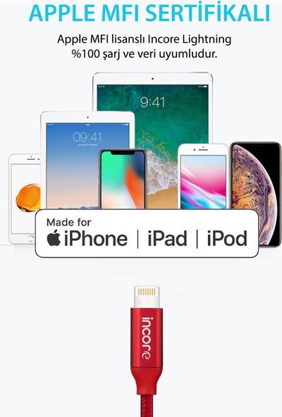 Incore inLine Lightning 3 Mt Apple MFI Lisanslı Örgülü Hızlı Şarj ve Data Kablosu iPhone iPad iPod 2.4A Koyu Gri