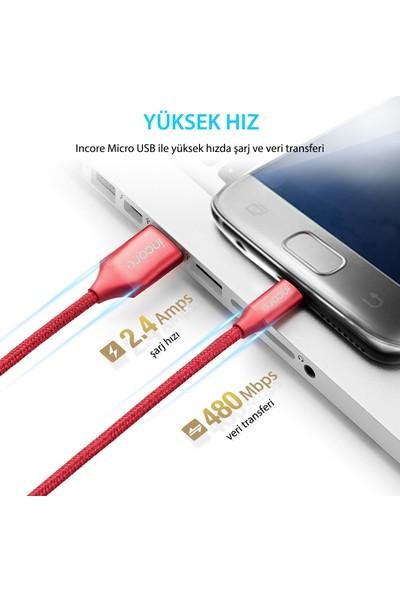 Incore inLine Micro USB 1 Mt Örgülü Hızlı Şarj ve Data Kablosu 2.4A Samsung Huawei Xiaomi Sony Koyu Gri