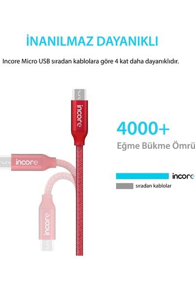 Incore inLine Micro USB 2 Mt Örgülü Hızlı Şarj ve Data Kablosu 2.4A Samsung Huawei Xiaomi Sony Gümüş