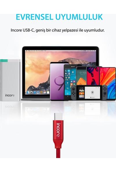 Incore inLine USB-C Type-C 2 Mt USB 3.0 Örgülü Hızlı Şarj ve Data Kablosu 3A Samsung Huawei Xiaomi Sony Kırmızı