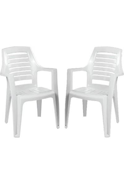 Plastico Milenyum Beyaz Plastik 2'li Sandalye