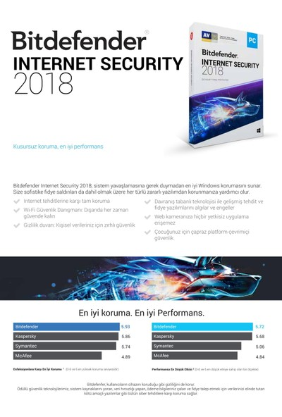 Bitdefender İnternet Security 2018 1 Cihaz 1 Yıl