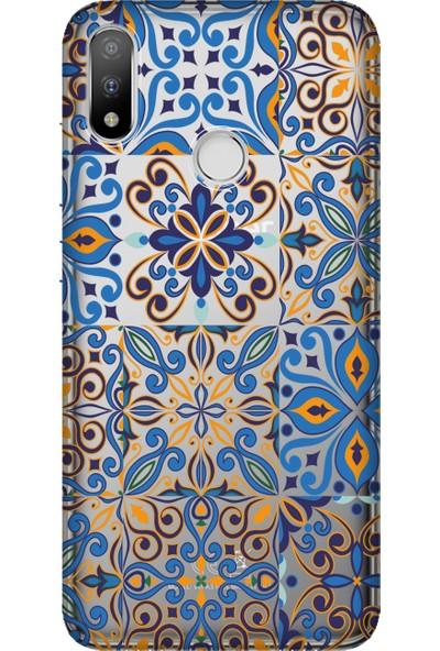 Cekuonline Casper Via A3 Plus Desenli Esnek Silikon Telefon Kapak Kılıf - Mavi Geo