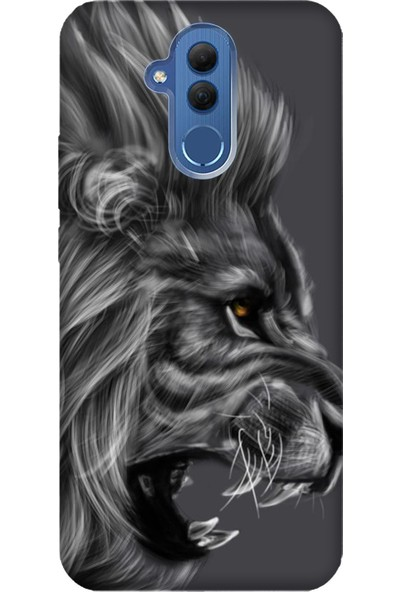 Cekuonline Huawei Mate 20 Lite Desenli Esnek Silikon Telefon Kapak Kılıf - Kara Aslan