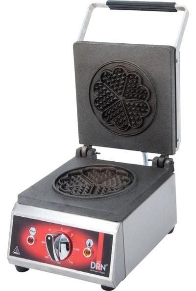 DRN Endüstriyel Waffle Makinası Tekli Yonca Elektrikli
