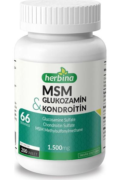 Herbina Glukozamin Sülfat Kondroitin Sülfat MSM Metilsülfonilmetan 200 Tablet x 1500 mg