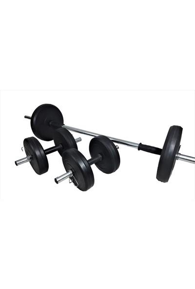 Powerbull Halter Ve Dambıl Seti 60 Kg Vücut Geliştirme Ağırlık Fitness Spor Aleti
