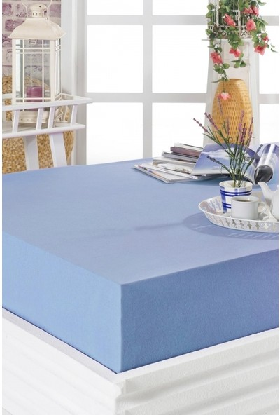 Komfort Home Ekstra Çift Kişilik Penye Lastikli Çarşaf 200x200 cm Mavi