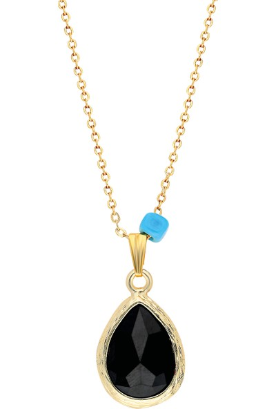 Forentina Altın Kaplama Bayan Siyah Taşlı Tasarım Kolye Ps0619