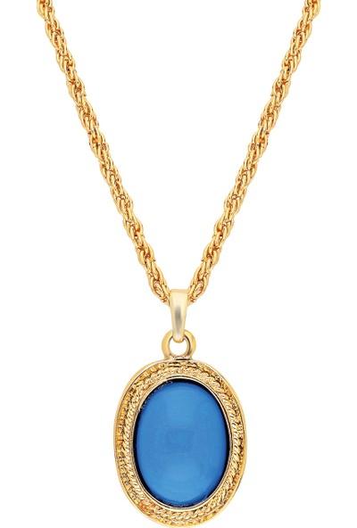 Forentina Bayan Altın Kaplama Mavi Taşlı Kolye - Uzun Zincir Ps0626