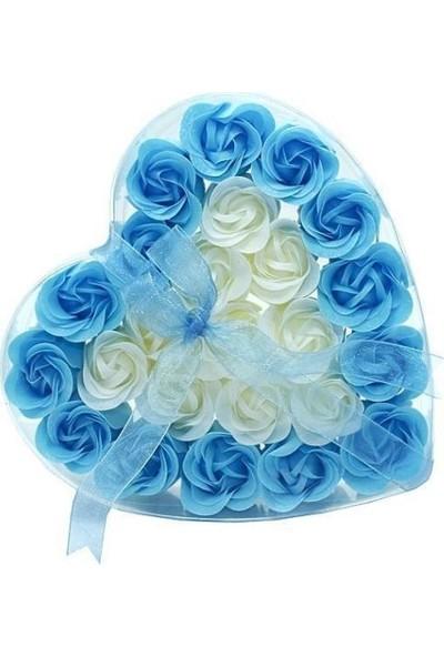 E-Hediyeci Kalpli Şeffaf Kutuda 24 Adet Kokulu Sabun Gül - Mavi