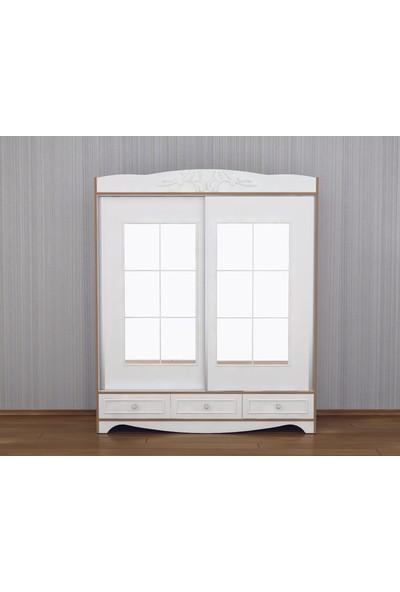 Evistro Aynalı Sürgü Kapaklı 3 Çekmeceli Gardırop - Beyaz