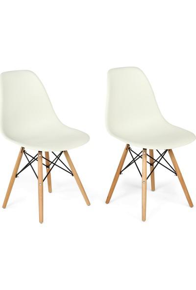 Hepsi Home Eames Ahşap Ayaklı Sandalye İKİLİ - Beyaz