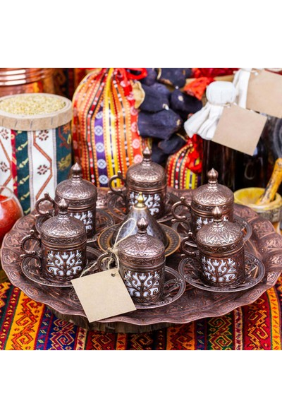 Gaziantepten Bakır Döküm Kahve Fincanı Takımı Seti