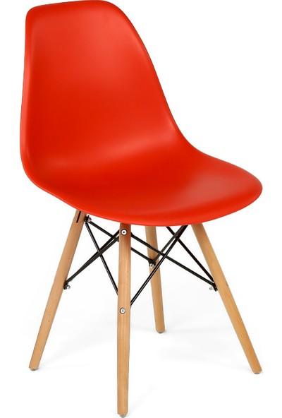 Hepsi Home Eames Sandalye Ahşap Ayaklı - Kırmızı
