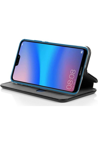 Smody Huawei P20 Lite Mıknatıs Kapaklı Standlı Cüzdan Lüx + Ekran Koruyucu Cam