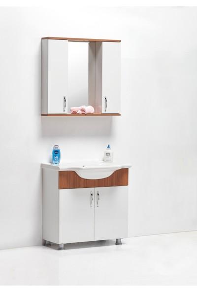 Hepsi Home Saydam Royal 80 cm Mdf Banyo Dolabı Teak Beyaz