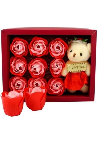 E-Hediyeci Ayıcıklı Gül Sabun Çiçek Kutusu 9 Adet Gül Sabun - Kırmızı