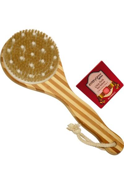 Natural Healty Doğal Bambu At Kılı Banyo Masaj Fırçası ve Esterya Plus Çilek Sabunu