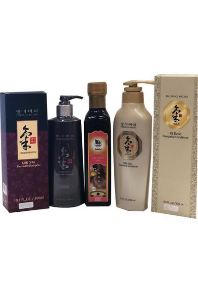 Ki Gold Premium Şampuan, Saç Bakım Kremi ve Özel Karışım Saç Bakım Yağı Seti