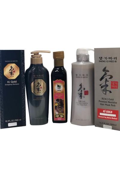 Ki Gold Energizing Şampuan, Saç Maskesi ve Özel Karışım Saç Bakım Yağı Set