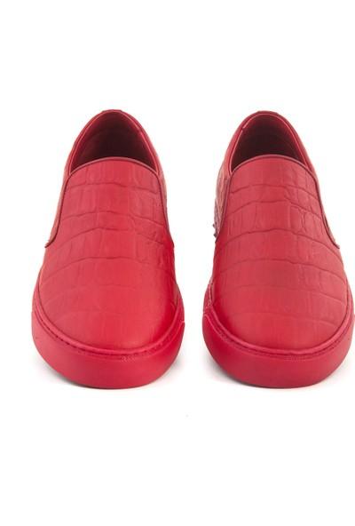 Mocassini Kırmızı Kroko 48628 Erkek Ayakkabı