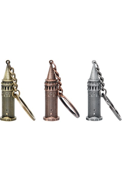 Kamet Galata Kulesi Metal Anahtarlık (Gümüş)
