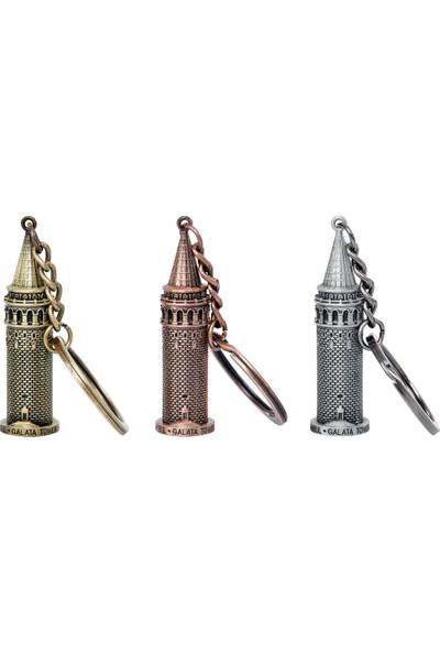 Kamet Galata Kulesi Metal Anahtarlık (Altın)