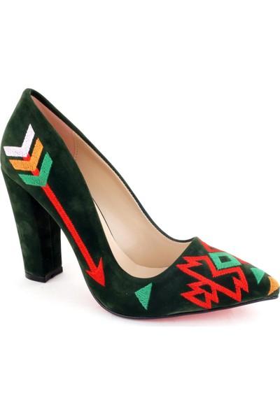 Ayakkabı Tarzım Kalın Topuk Yeşil İşleme Stiletto