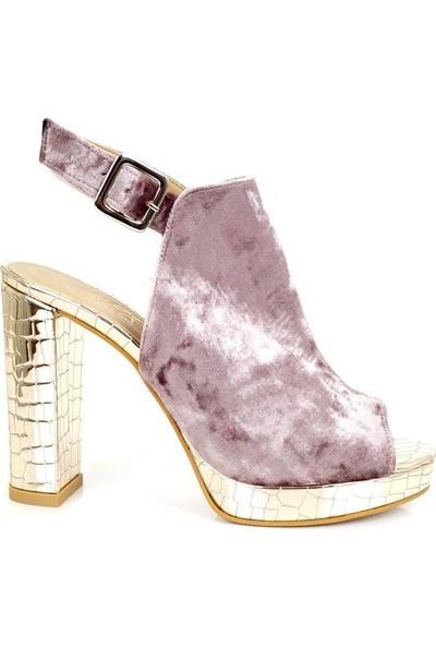 Ayakkabı Tarzım Dore Kadife Platform Topuk