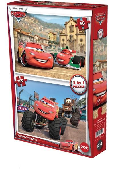 Cars Puzzle 100+50 2 Puzzle Bir Arada Arabalar Puzzle Toplam 150 Parça Lisanslı