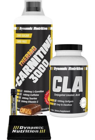 Dynamic Nutrition Thermo L-Carnitine 3000 mg 1000 ml + CLA 1000 mg 90 kapsül + 3 HEDİYE