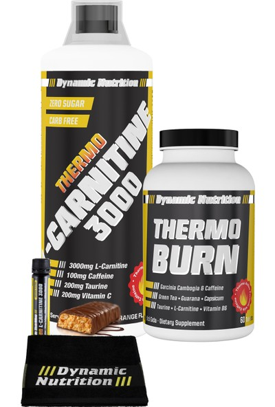 Dynamic Nutrition Thermo L-Carnitine 3000 mg 1000 ml + Thermo Burn 60 tablet + 3 HEDİYE