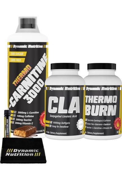 Dynamic Nutrition Thermo L-Carnitine 3000 mg 1000 ml + Thermo Burn 60 tablet + CLA 1000 mg 90 kapsül + 3 HEDİYE