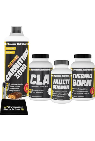 Dynamic Nutrition Thermo L-Carnitine 3000 mg 1000 ml + Thermo Burn 60 tablet + CLA 1000 mg 90 kapsül + Multivitamin 30 tablet + 3 HEDİYE