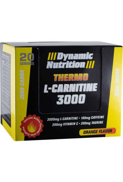 Dynamic Nutrition Thermo L-Carnitine 3000 mg 20 ampul + CLA 1000 mg 90 kapsül + 3 HEDİYE