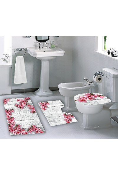 Melay Beyaz Ahşapta Kiraz Çiçekleri Banyo Paspas 3'Lü Klozet Set