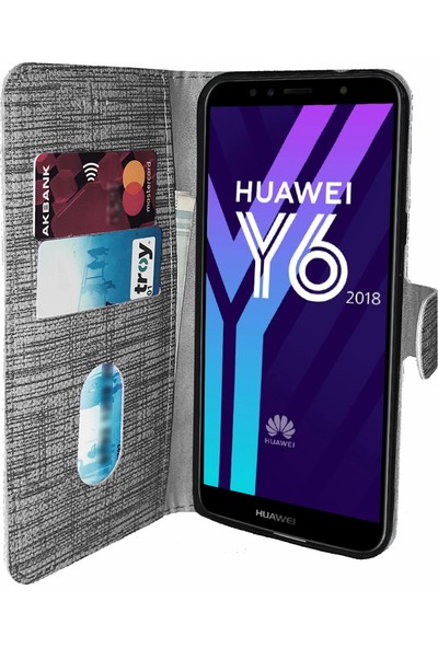Huawei Y6 2018 Atumo Kılıf FitCase Fabric Kapaklı Cüzdanlı