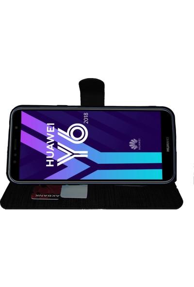 FitCase Huawei Y6 2018 Atumo Yan Kapaklı Cüzdanlı Kartlıklı Kılıf