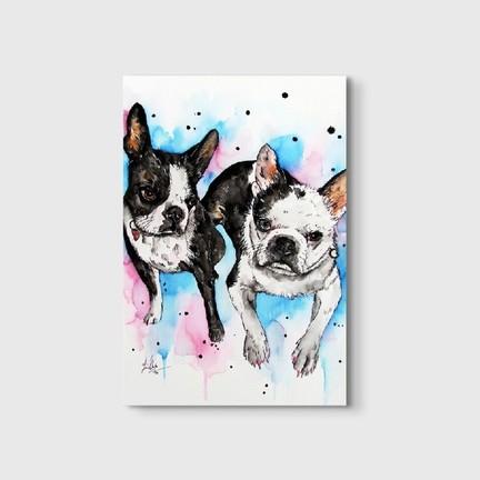 Germenicia Art Sulu Boya Sevimli Köpekler Kanvas Tablo Fiyatı