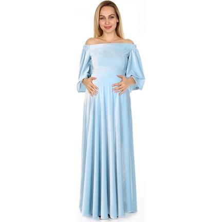 95be3879cff67 Moda Labio Düşük Omuz Kadife Bebe Mavi Hamile Elbisesi Fiyatı