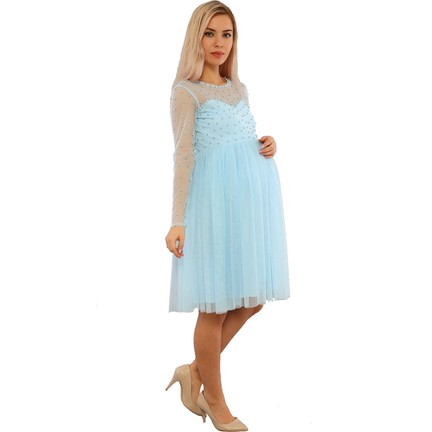 4d6e5579c4b2a Moda Labio İncili Bebe Mavi Hamile Elbisesi Fiyatı