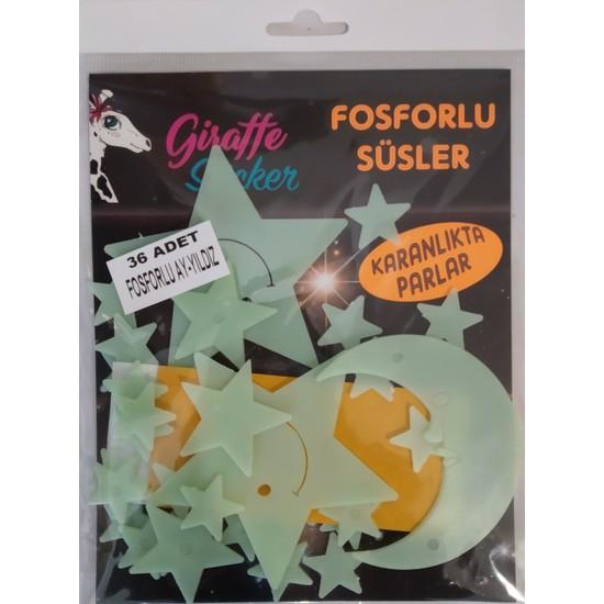 Giraffe 36'lı Karanlıkta Parlayan Fosforlu Süsler - Ay ve Yıldızlar