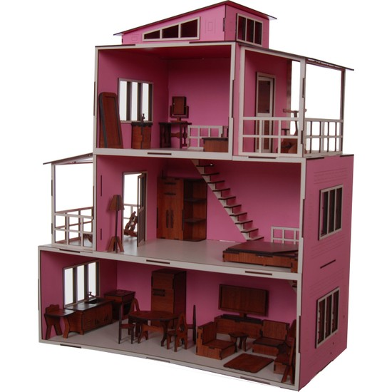 Ahşap Toys Mobilyalı Bebek Evi