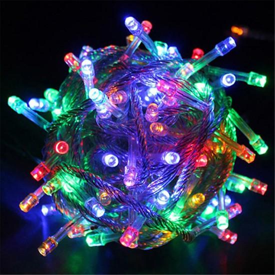 PartiBulutu Yılbaşı Şeffaf Kablo 10m 100 Ampul Led Işık Renkli