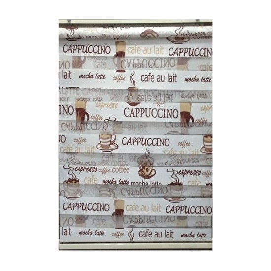 ZebraEvim Kahve Cappucino Desenli Zebra Perde