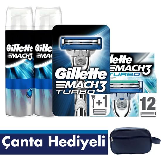 Gillette Mach3 Turbo Tıraş Paketi (Tıraş Makinesi + 12'li Bıçak + 2'li Jel+ Seyahat Çantası)